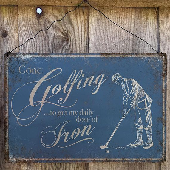 Gone Golfing Vintage Metal Wall Sign Plaque.  Golf Hobby sign A4 size. Ideal gift for any Golf enthusiast to hang on their wall or shed door. made from 0.5mm aluminium, Waterproof and scratch proof, these signs can be used outside.