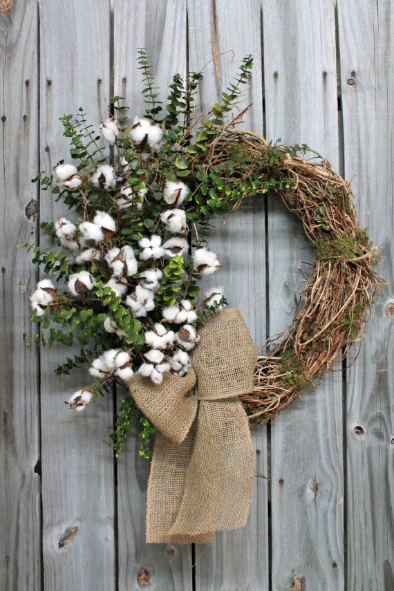 Preserved Eucalyptus and Raw Cotton Bolls, Primitive Country Wreath, Free Shipping