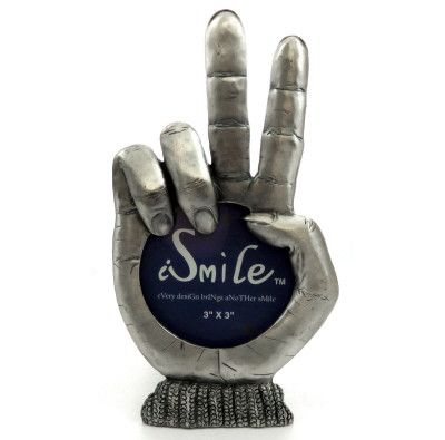 Pewter picture frame in the shape of a hand holding its pointer finger and middle finger up forming the 'peace sign'