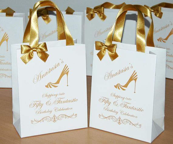 25 Birthday Bags With Gold Satin Ribbon Handles Bow And Your