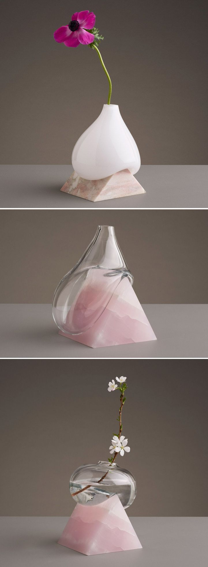 Designer Erik Olovsson of Studio E.O juxtaposes smooth, rounded vessels of hand-blown glass against clear-cut geometric slabs of patterned stone.