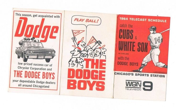 1964 CHICAGO CUBS & WHITE SOX POCKET SCHEDULE WGN TV w/ DODGE CHRYSLER ad #SchedulePocket #ChicagoCubs