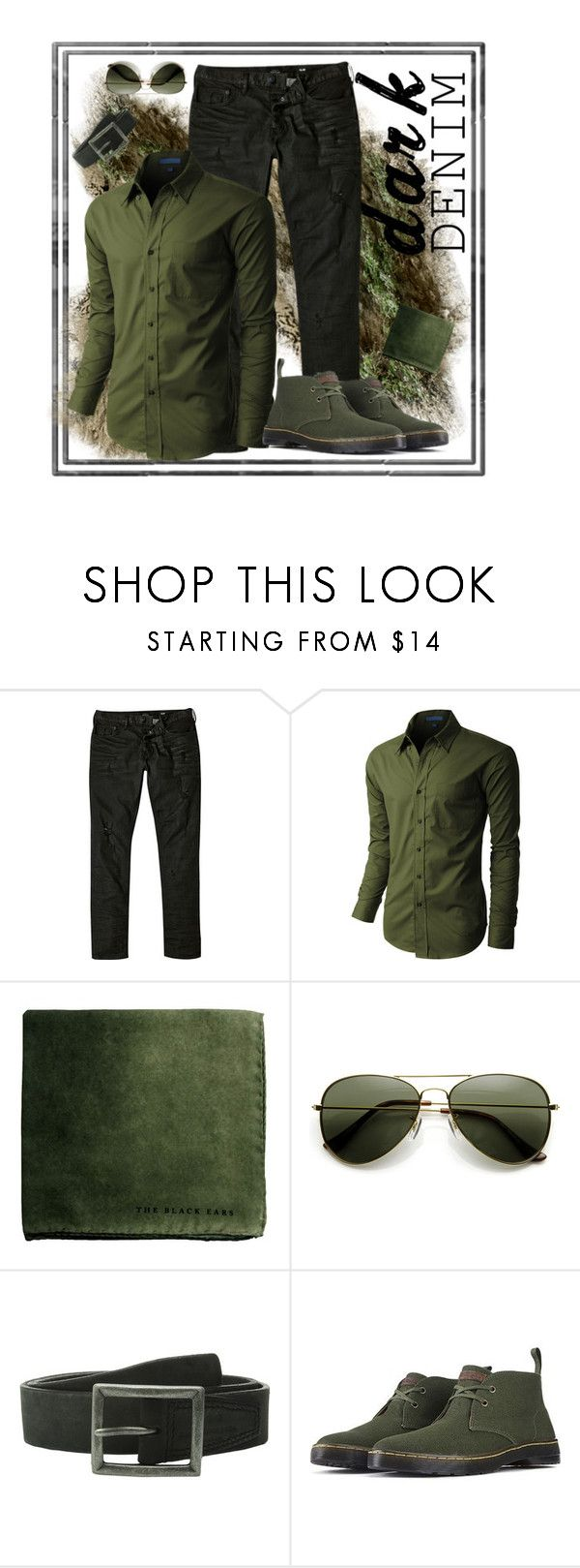 Green denim envy by bella0678 on Polyvore featuring LE3NO, River Island, Dr. Martens, ZeroUV, John Varvatos, men's fashion, menswear, darkdenim and menswearessential