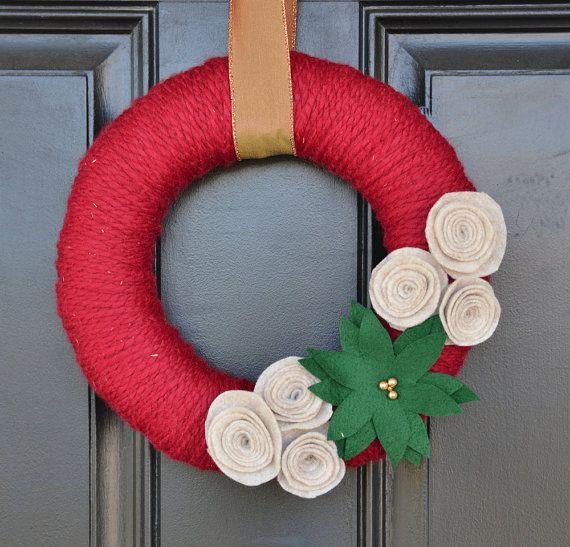Christmas Yarn Wreath in Cranberry Red with Felt Flowers - Christmas Wreath - Handmade Holiday Wreath on Etsy, $35.00