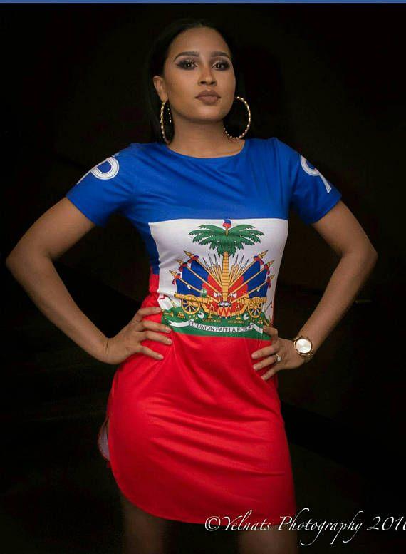 Haiti Flag Shirt Dress