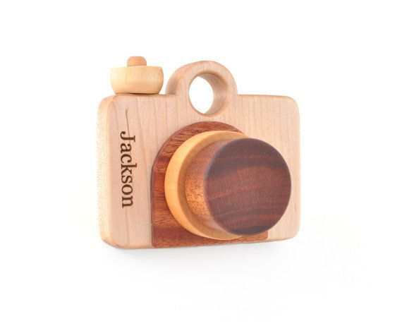 Personalized Wooden Toy Camera - Eco-friendly Imagination Toy - Pretend Play for a Baby, Toddler, Preschooler - Gift for a Boy or a Girl
