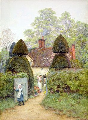 Helen Paterson Allingham (English, 1848-1926) Cottage near Pinner http://www.arthistory.wisc.edu/exhibitions/victorian-watercolors/allingham-cottage-near-pinner.html