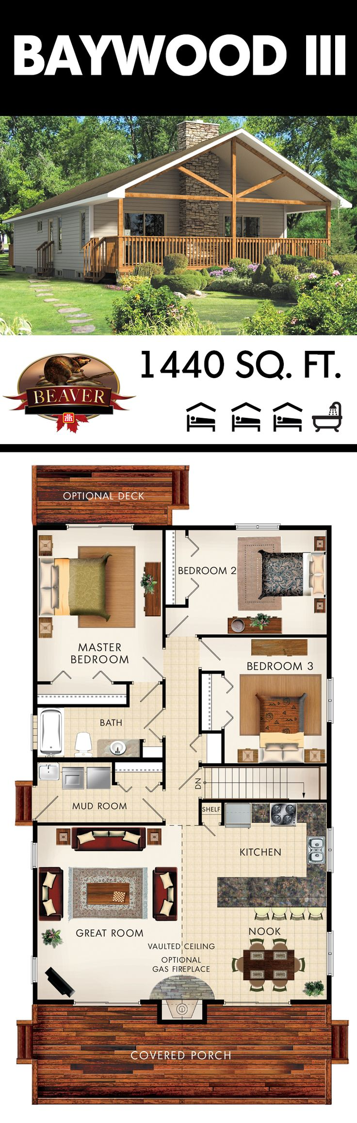 The Baywood III is designed to be very cost effective and the narrow floor plan (30') allows for a great use of space on a building lot that is challenged for width. #BeaverHomesAndCottages