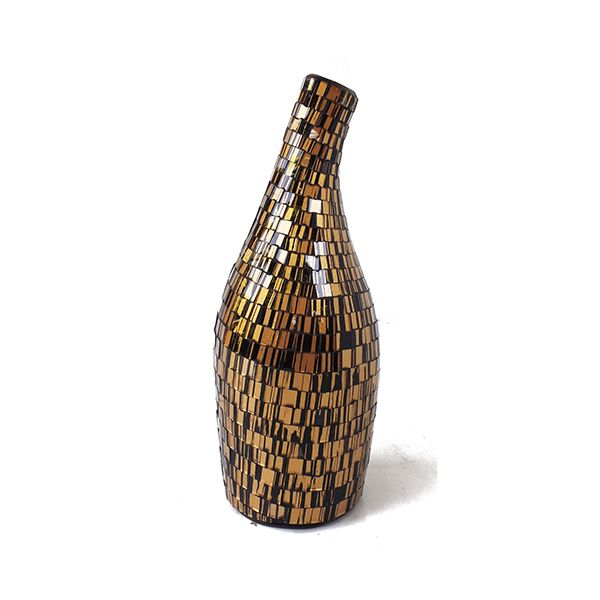 Arethusa Vase VAS007S - Glass Mosaic ( Gold on Black ) - Front Elevation - Dimensions : Height - 34 cm ( Overall ) Bottom - Diam. 11 cm Top : Diam. 4 cm