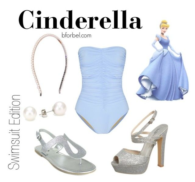 """Cinderella Swimsuit edition"" by bforbel ❤ liked on Polyvore featuring Disney, Karla Colletto, Jane Norman and TARA Pearls"