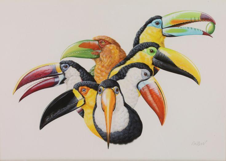"""Lot 416, Richard W Orr, watercolour, signed, study of seven toucans 13"""" x 18 1/2"""", est £300-500"""