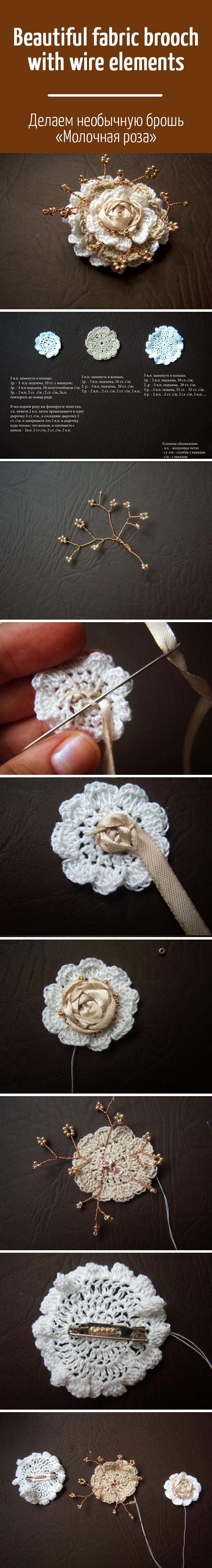 """Делаем необычную брошь """"Молочная роза"""": вяжем, вышиваем, плетём / Beautiful fabric brooch with wire elements: tutorial"""