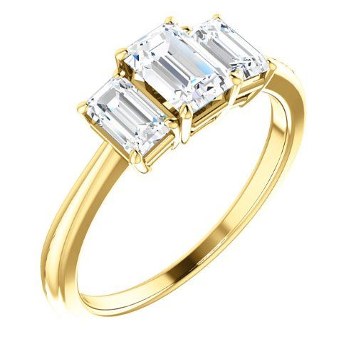 14K Yellow Gold Emerald Cut Diamond Three-Stone Engagement Ring — LIFETIME WARRANTY | Your #1 Source for Jewelry and Accessories
