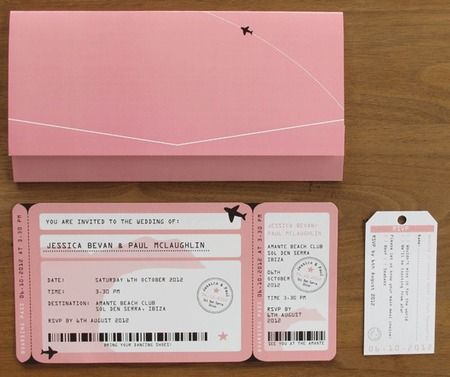 Travel themed wedding invitations - have them printed as boarding passes and give your guests luggage tags as RSVP cards. www.handbag.com LOVE THIS FOR A DESTINATION WEDDING