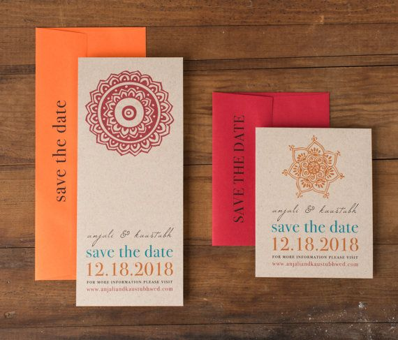 "Modern Indian Wedding Save the Dates, Unique Save the Date Cards, Orange, Red, Taupe - ""Henna Love"" Save the Dates"