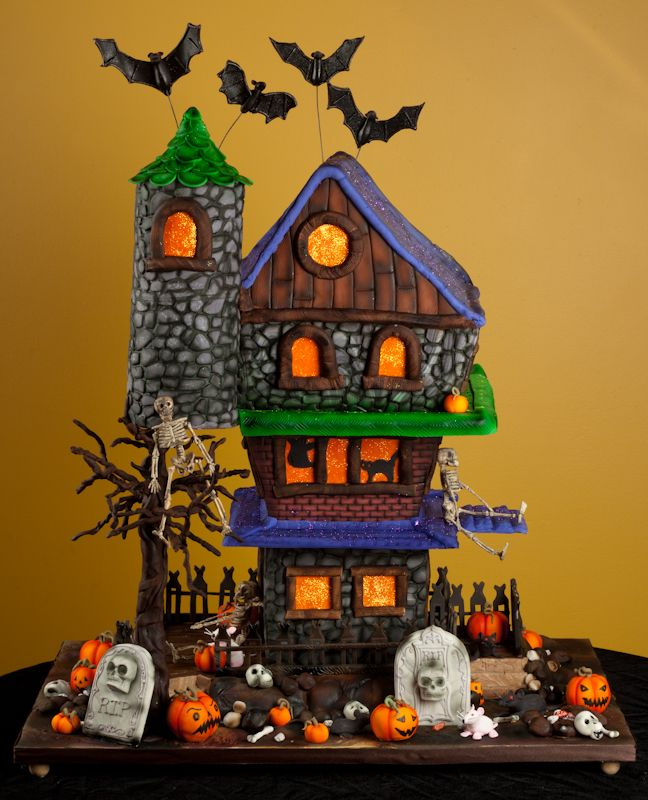 Haunted house halloween bat mitzvah cake - Everything is edible except skeletons.
