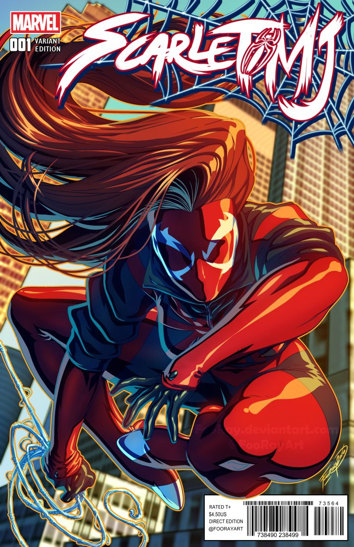 "Wanted to do another ""Variant"" cover for Scarlet MJ #001! Mary Jane Watson: The Scarlet Spider!!  Really enjoy drawing her, and Definitely wanted to do another image up of her when I could. So..."