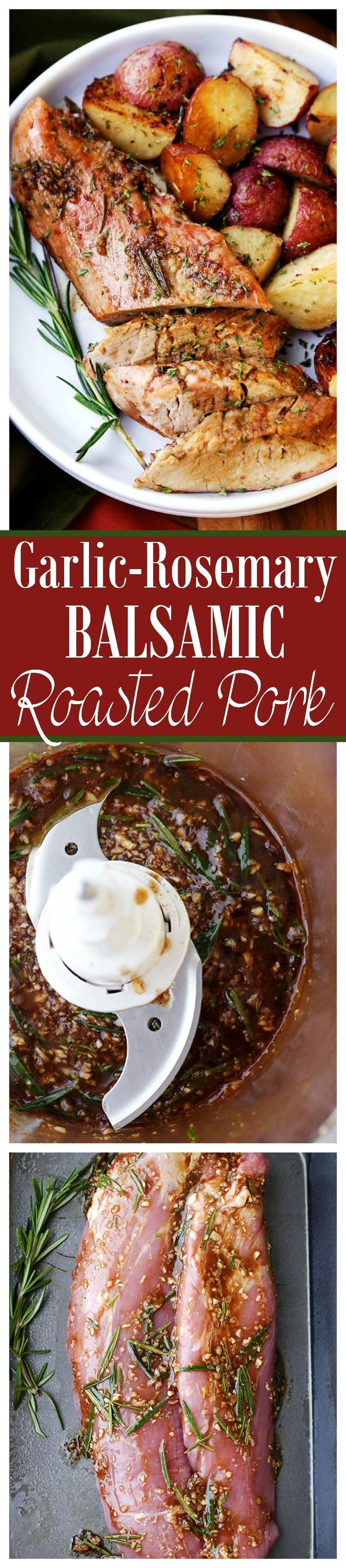 Garlic and Rosemary Balsamic Roasted Pork Loin - Easy to make, flavorful, incredibly tender pork loin rubbed with a Garlic and Rosemary Balsamic mixture makes for a crowd pleasing dinner with very little effort. via @diethood