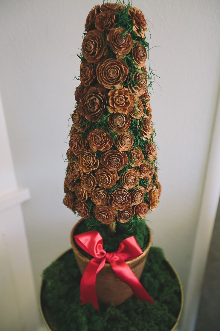 Christmas topiary made by sticking Cedar Roses (already wired) and Spanish moss into a floral foam topiary form. Use reindeer moss in the pot to hide the bottom of the form. Finish with a festive bow! Design by Katie Hund of Wylie Weddings.