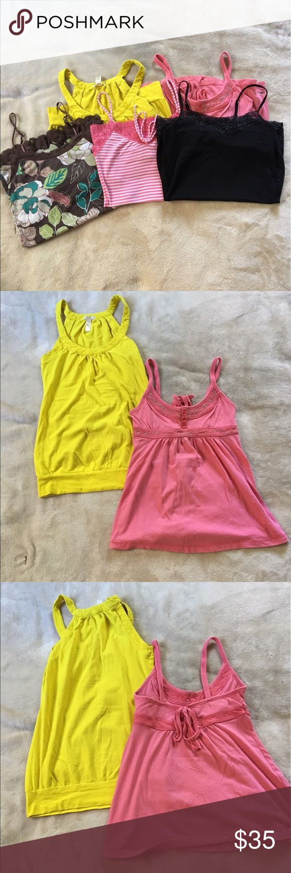 Bundle of tank tops Bundle of 5 tank tops size xsmall-small. Yellow tank top is ambiance apparel brand size small 95% cotton 5% spandex. Pink tank top is Hollister brand size xsmall 60% cotton 40% polyester. Black tank top is express brand size xsmall sexy stretch. Pink striped tank top is Hollister brand size small. Brown camisole is American eagle brand size small. Excellent condition. Tops Tank Tops
