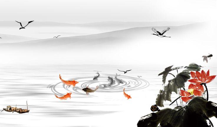 décoration murale style zen papier peint asiatique sur mesure paysage avec les lotus
