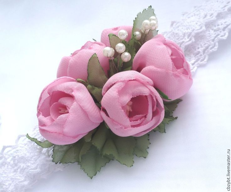 """Купить Повязка для волос """"Нежность"""". Цветы из ткани. - розовый, однотонный, повязка на голову, повязка для волос"""