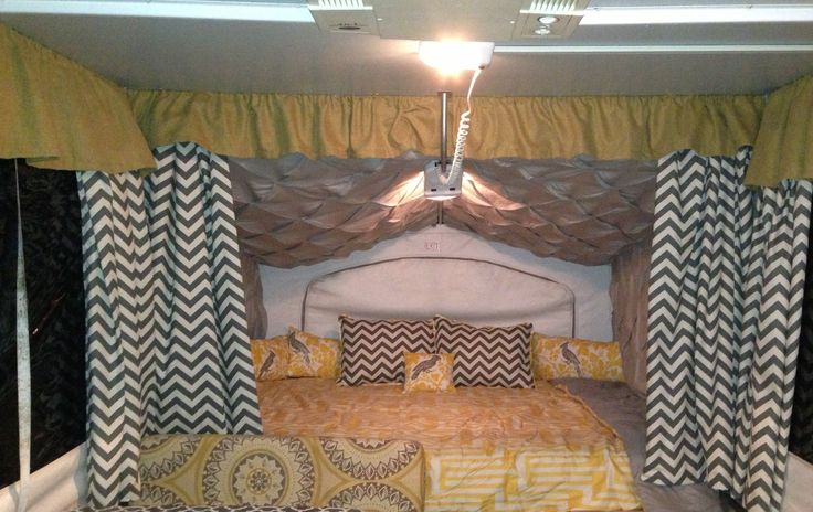 Pop Up Camper Make Over Queen Size Bed Camping
