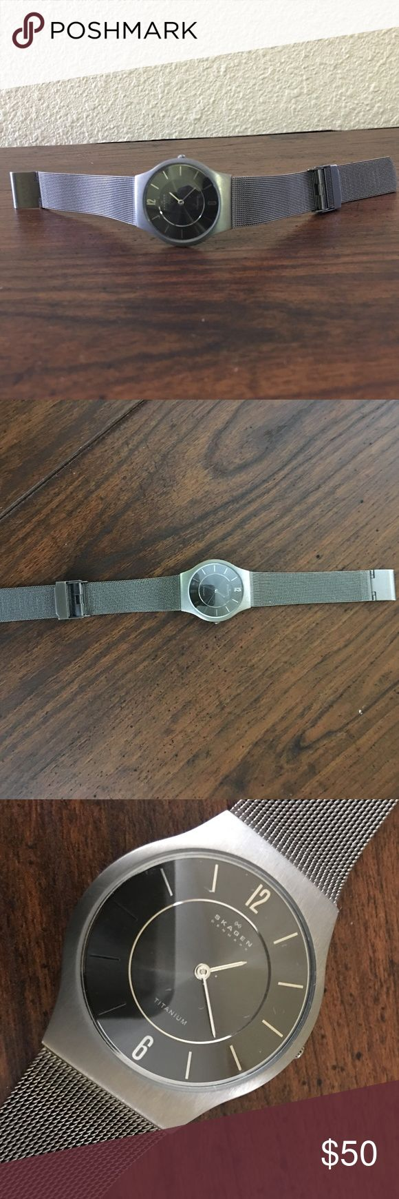 Skagen Titanium Men's Watch Pre-owned: This item is in good condition. This watch runs and all parts function perfectly.  Please feel free to make an offer and ask questions if any. All questions will be attempted and correctly answered. Thank you Skagen Accessories Watches