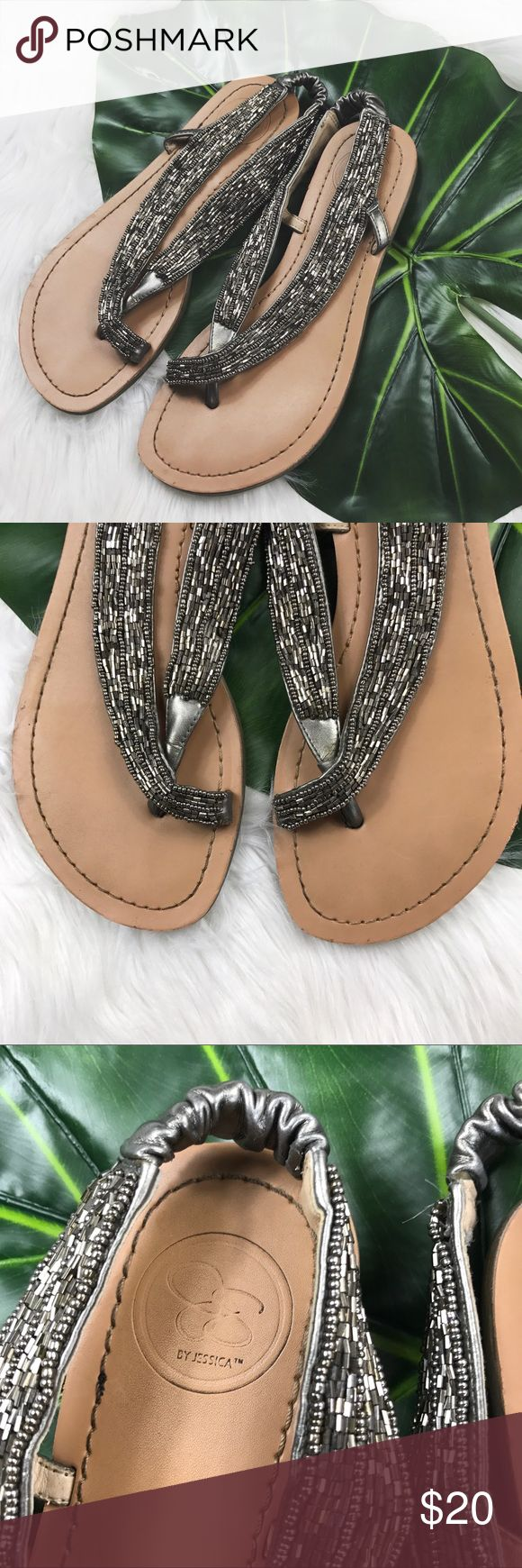 Silver Beaded Slingback Sandals In excellent used condition! Jessica Simpson Shoes Sandals