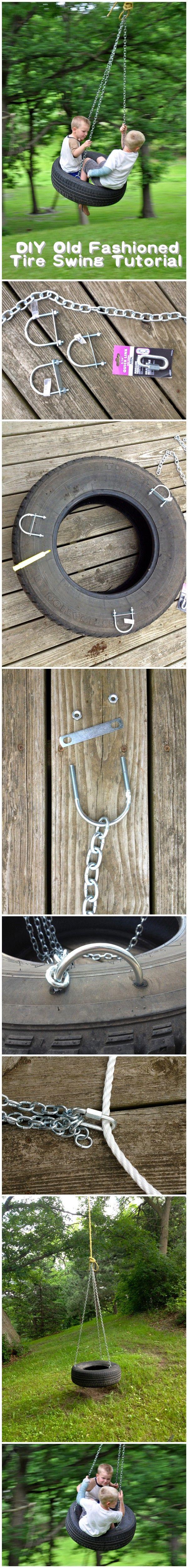 #DIY Old Fashioned #Tire #Swing #Tutorial