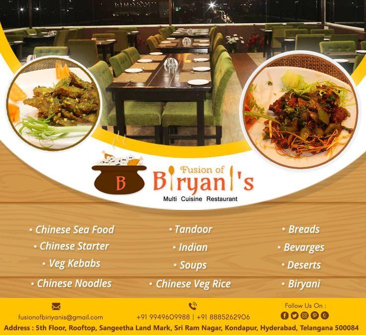Fusion Of Biryanis Kondapur Fusion Of Biryanis Biryanis Fusion Kondapur Veg Restaurant Food