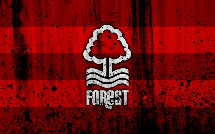 Download wallpapers 4k, FC Nottingham Forest, grunge, EFL Championship, art, soccer, football club, England, Nottingham Forest, logo, stone texture, Nottingham Forest FC