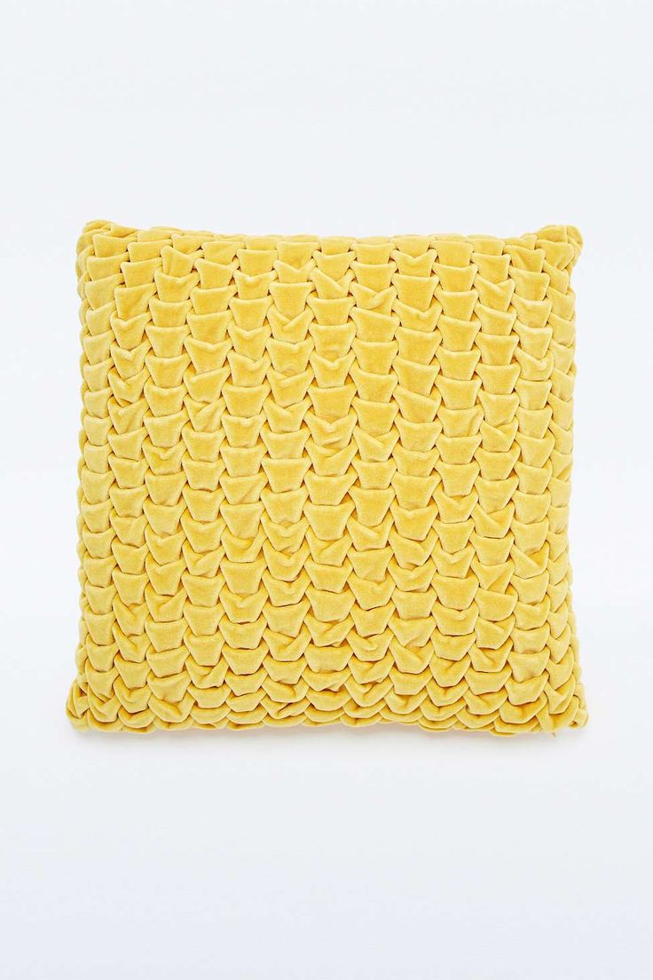 Quilted Velvet Yellow Cushion