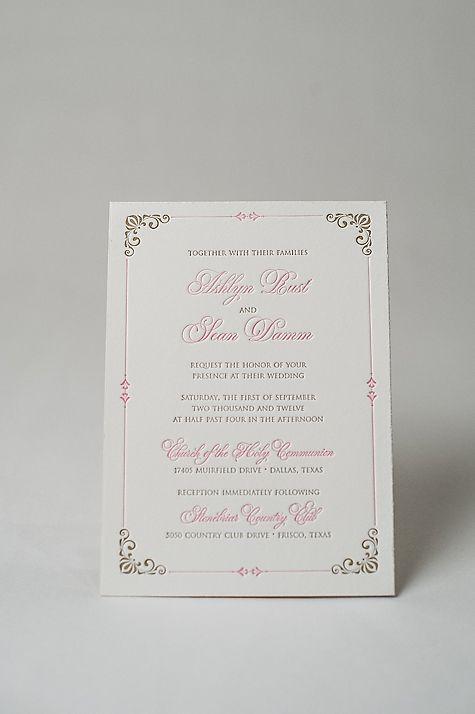 Princess inspired wedding invitations, royal wedding invitations, letterpress