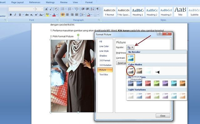 Cara Edit Foto di MS Word Menjadi Hitam Putih | Pengeditan ...