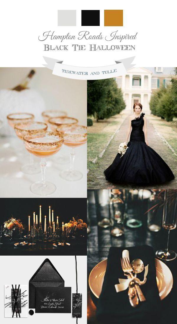 Elegant, black tie Halloween wedding inspiration using the colors black and copper.