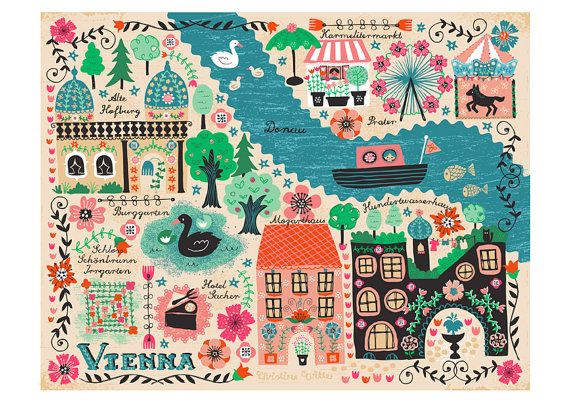 Giclee Art Print Vienna Map Wien Austria Nursery Wall Art Decor Floral Folk Midcentury Retro Urban City Gift Kids Swans Ferris Wheel Boat