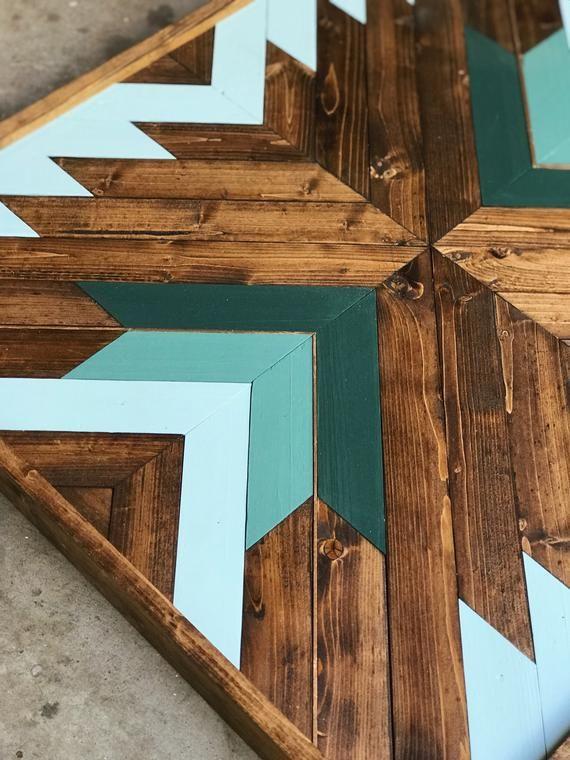 Geometric Wood Wall Art Wood Mosaic Reclaimed Wall Art | Etsy