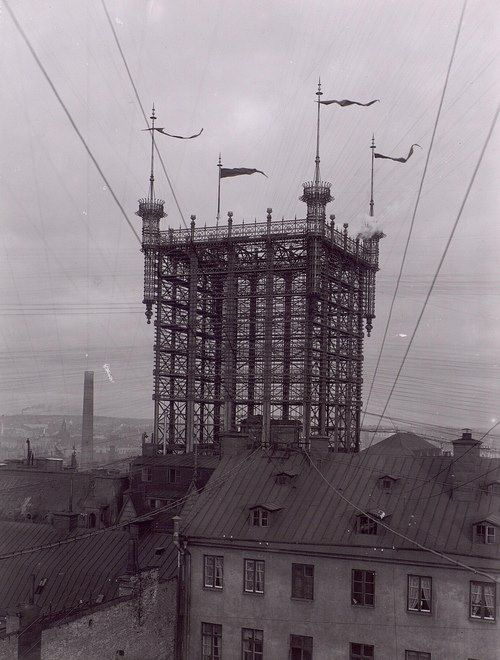 """The """"Telephone Tower"""" in Stockholm. This was one of the main telephone junctions in Stockholm between 1887-1913. About 5000 telephone lines where connected here. #Architecture #Technology #Vintage #History"""