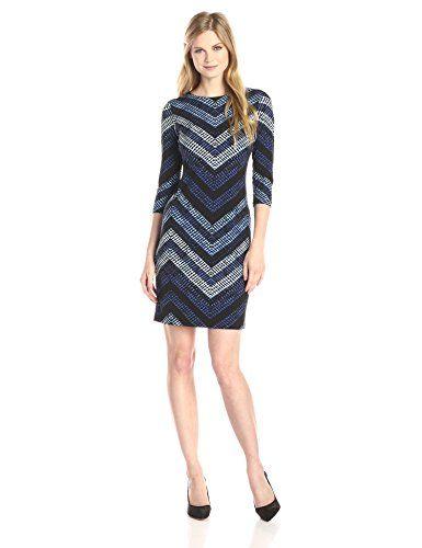 Karen Kane Women's Cerulean Chevron Sheath Dress