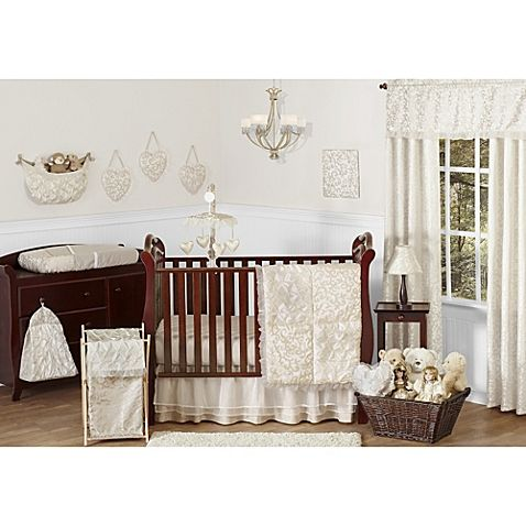 Add sophistication to your baby's nursery with the Victoria Collection 11-Piece Crib Bedding Set from Sweet Jojo Designs. With gorgeous Victorian patterns in champagne and ivory, this set has everything you need to decorate your baby's bedroom.
