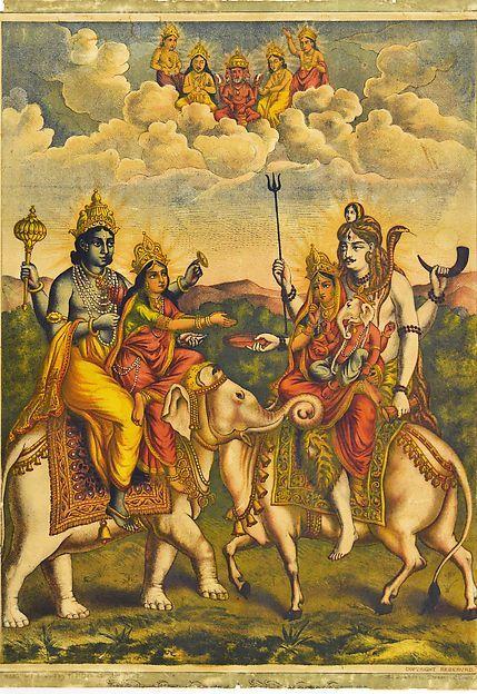 Shri Shri Hariharmilana (The meeting of Vishnu and Shiva) 1880s–90s. India. Lithograph. (via The Metropolitan Museum of Art)