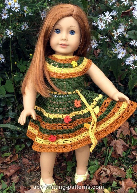 ABC Knitting Patterns - American Girl Doll Autumn Lace Dress