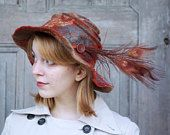 Unique chestnut-brown felted hat, floppy brim, bohemian style, wide-brimmed hat, nuno felted hat with peacock feathers, artisan hat, OOAK