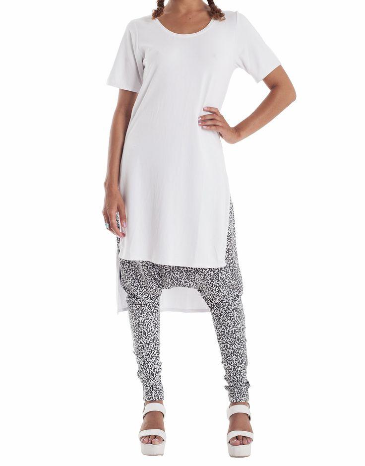 Nemis Side Split T-Shirt Dress White