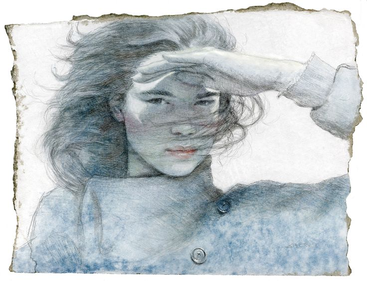 """""""Windblown""""  Silverpoint and Watercolor by Joel Spector"""