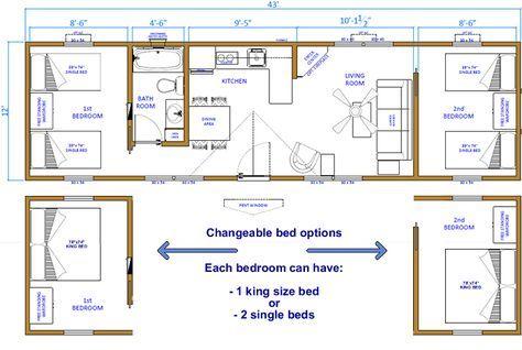 12X32 Cabin Floor Plans two bedrooms | click floor plan ...