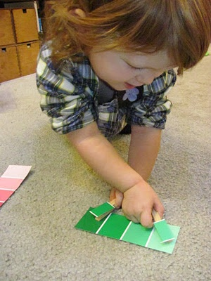 Paint chip finding and matching game- use clothes pins for fine motor work