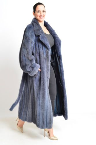 LONG SAGA MINK FUR COAT - COLORED IN BLUE - TRENCH WHITE CROSS - HOPKA VISON XL