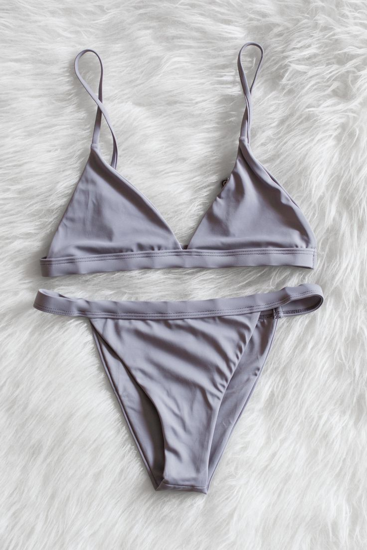grey minimalist bikini set | ILikeItThatWay
